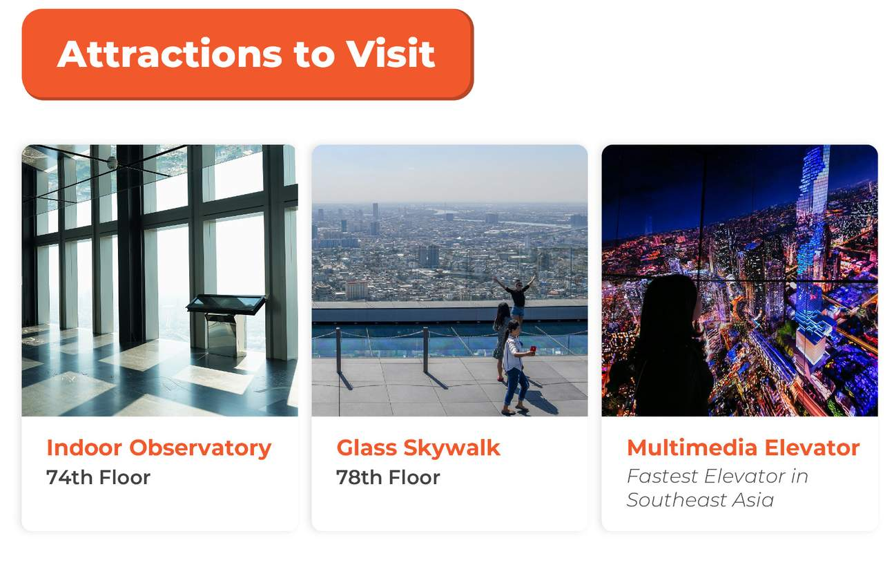 key attractions at mahanakhon skywalk